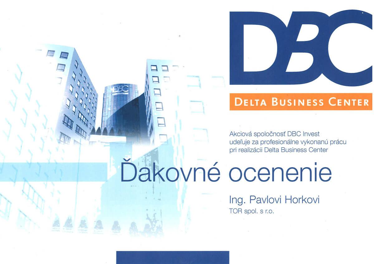 Ďakovné ocenenie DBC