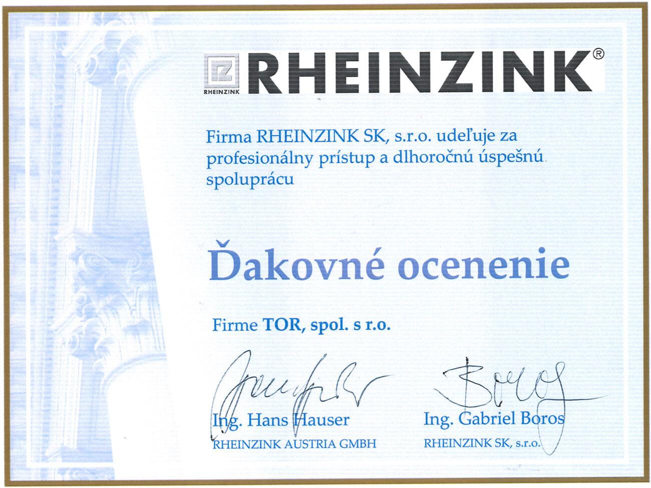 Ďakovné ocenenie RHEINZINK
