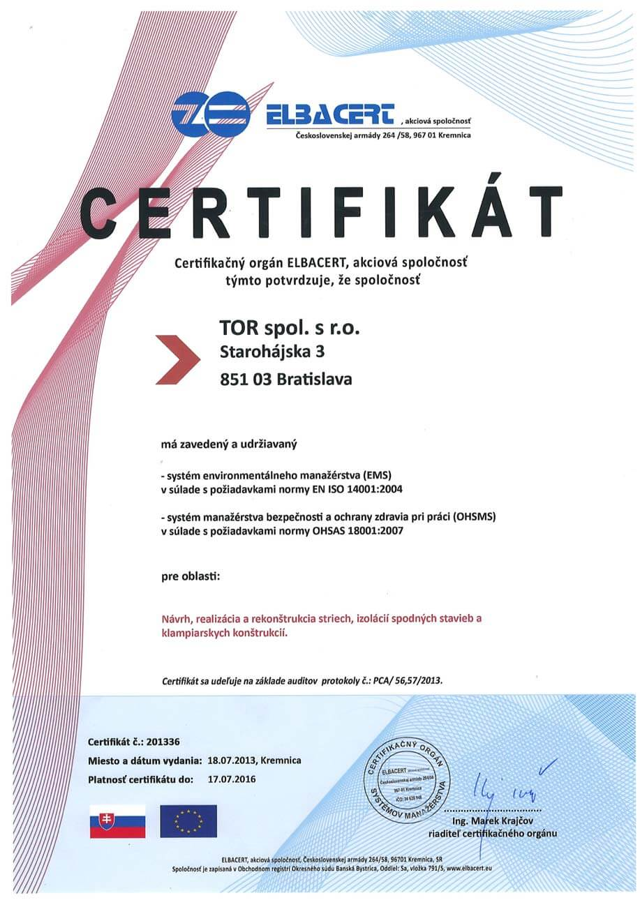 Certifikát ISO 2004 a ISO 2007