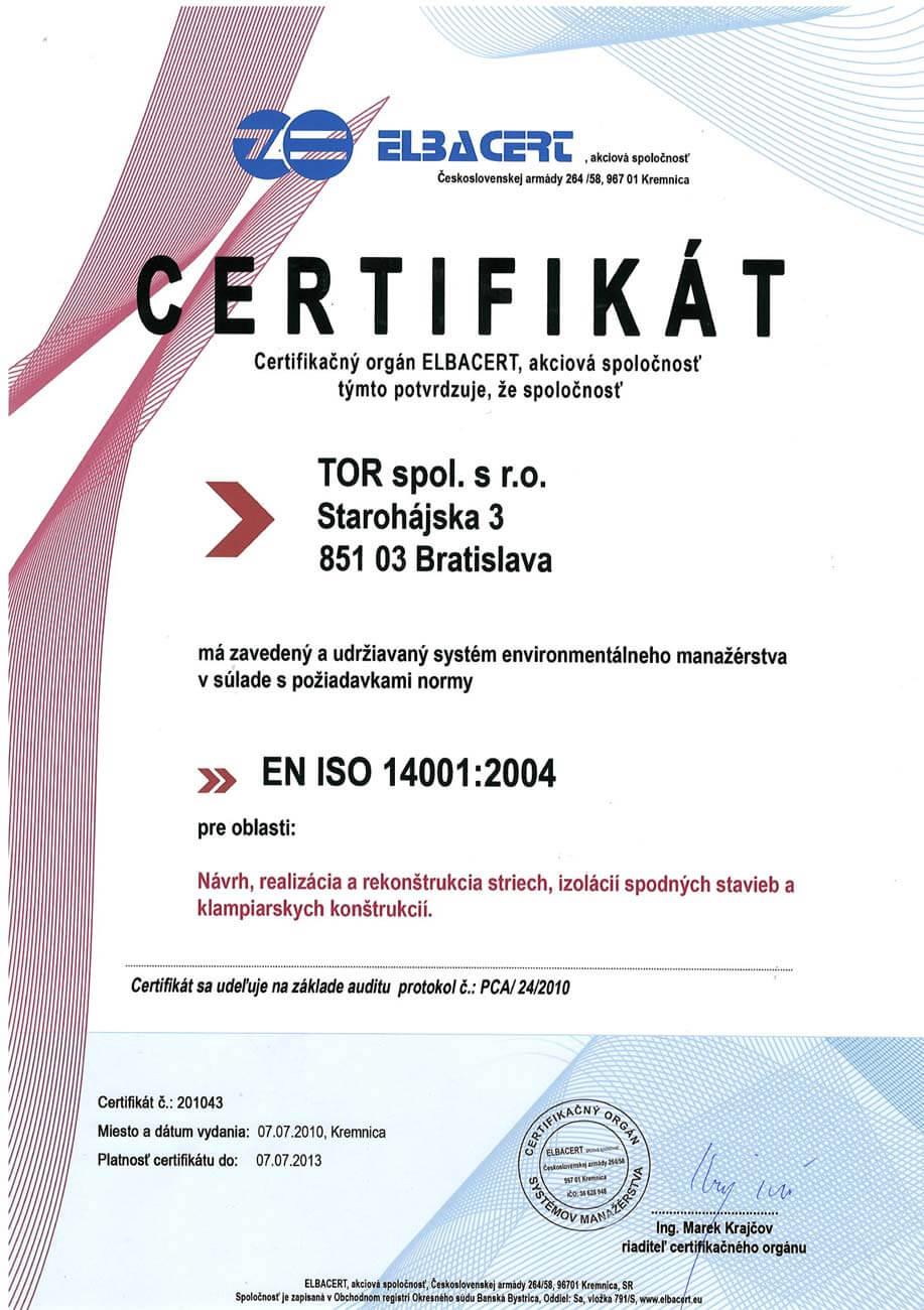 Certifikát ISO 2004