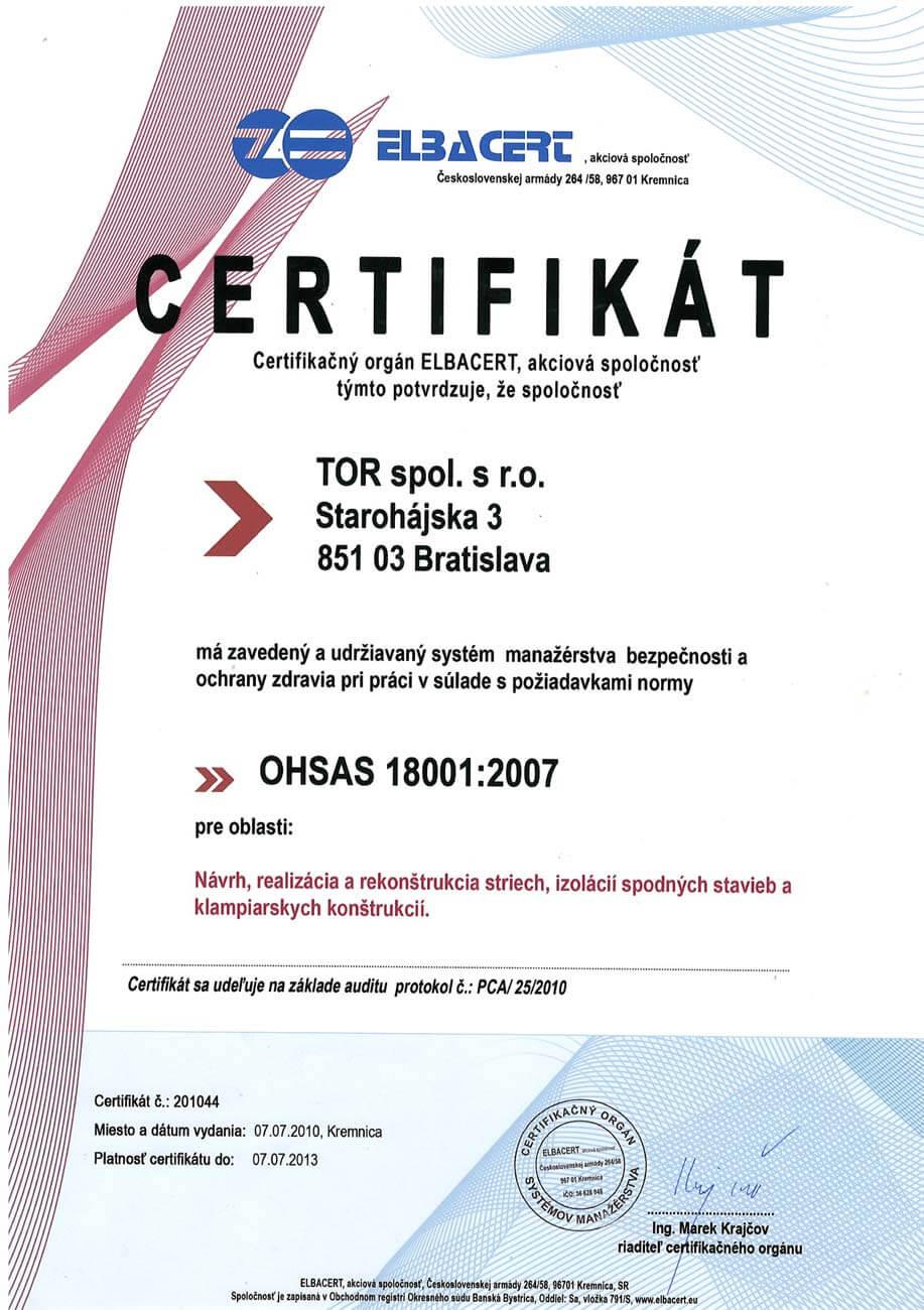 Certifikát ISO 2007