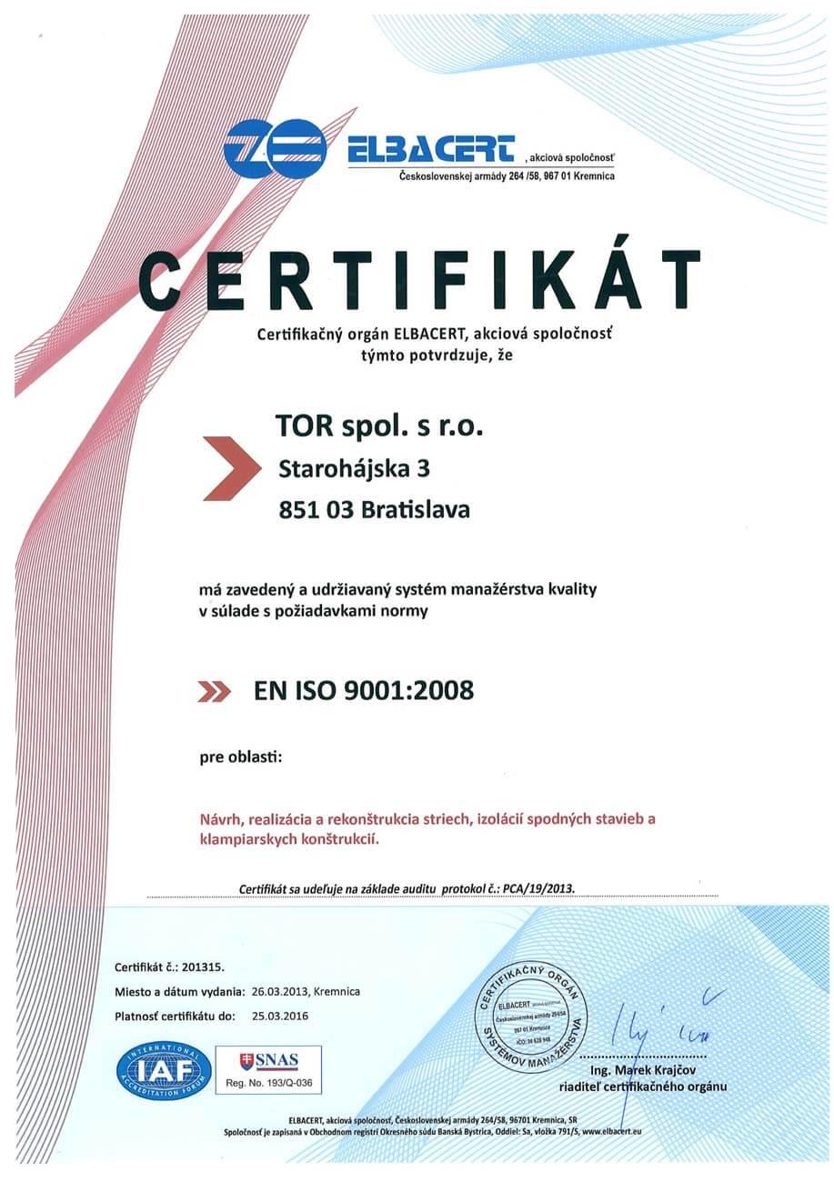 Certifikát ISO 2008