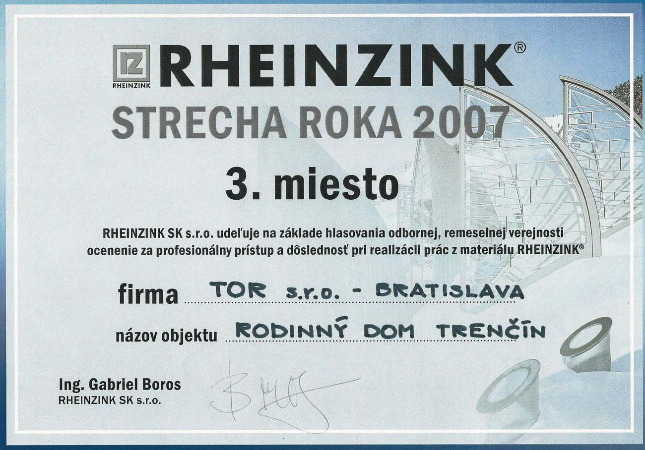 Strecha roka 2007 3. miesto