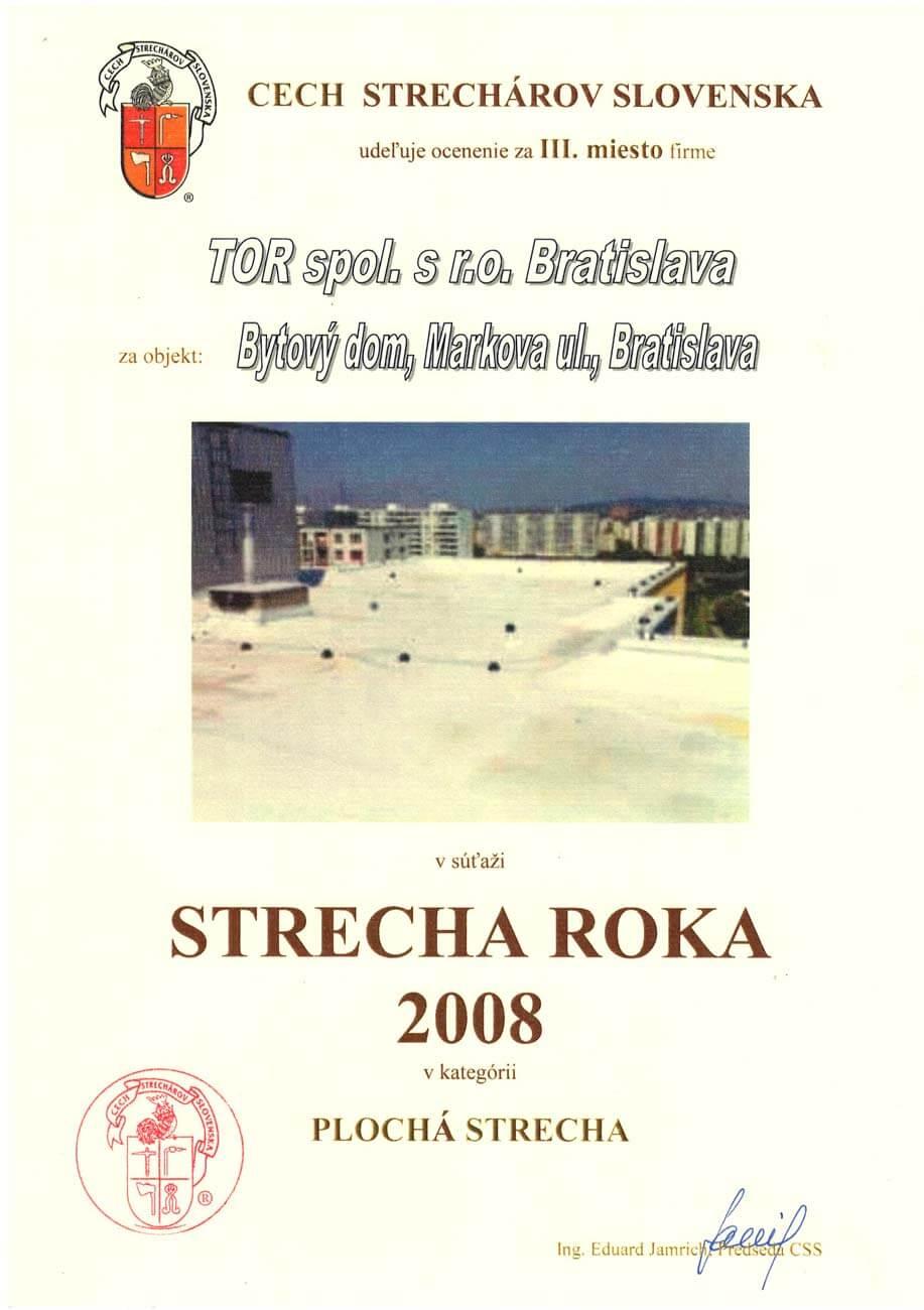 Strecha roka 2008 3. miesto