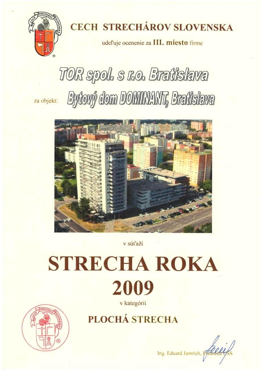 Strecha roka 2009 3. miesto
